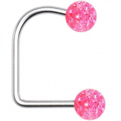 14 Gauge Pink Acrylic Glitter Ball Lippy Loop Labret