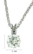 Platinum Plated Sterling Silver Round-Cut Cubic Zirconia Pendant Necklace, 45.7cm