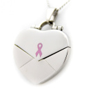 """What Cancer Cannot Do"" Stainless Steel Pink Ribbon Heart Locket"