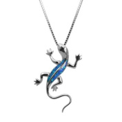 Sterling Silver Gecko Necklace Pendant with Blue Opal and Box Chain