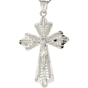 Sterling Silver 3.78cm Ornate Jesus Crucifix Cross Religious Pendant