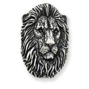 Sterling Silver Antiqued Lion Head Pendant - JewelryWeb