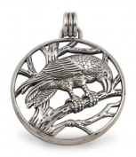Raven in Tree Circle Pendant in Sterling Silver