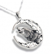 Howling Wolf Totem with Crescent Moon and Stars Sterling Silver Pendant with 61cm Chain Necklace
