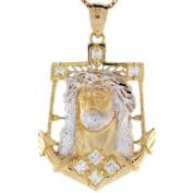 10k Two-tone Yellow and White Gold CZ Jesus Head anchor Pendant