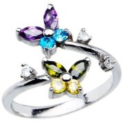 925 Sterling Silver Cubic Zirconia BUTTERFLY Adjustable Toe Ring