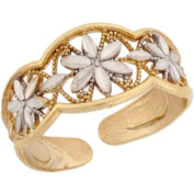 Two-Toned 10k Real Gold Fancy Rhodium Flower Ladies Toe Ring