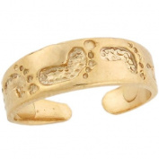 10k Real Gold Footprint in The Sand Band Designer Womens Toe Ring