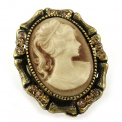 Light Brown Cameo Ring Vintage Antique Style Stones Bronze Tone Adjustable Size Band Designer Women Lady Fashion Jewellery