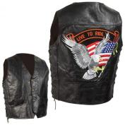 Diamond Plate Men's Grain Leather Biker Vest