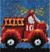 "Wonderart Latch Hook Kit 30cm X12""-Fire Truck"