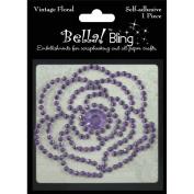 Ruby Rock-It BG42 Bling Self-Adhesive Rhinestone Vintage Floral-Purple