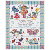 Bug In A Rug Birth Record Counted Cross Stitch Kit-23cm - 1.9cm x 32cm 14 Count