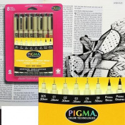 Sakura Pigma Micron/Brush/Graphic Pen Set Blk 8pc [Office Product]