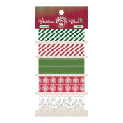 Christmas Cheer Trimmings 5 Yards/Pkg-Red, Green & White-5 Designs/1 Yard Each