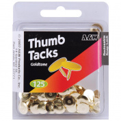 Thumb Tacks-Goldtone 125/Pkg