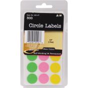 Labels-Neon Circles .190cm 300/Pkg