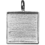 Designer's Square Base Pendant 28mm 1/Pkg-Silver Overlay