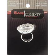 Base Elements Adjustable Bottle Cap Ring 25mm 1/Pkg-Silver Overlay