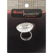 Base Elements Adjustable Bottle Cap Ring 25mm 1/Pkg-Silver Overlay