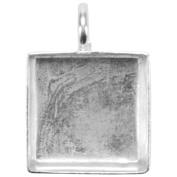 Base Elements Square Pendant 16mm 1/Pkg-Silver Overlay
