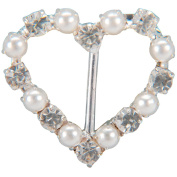 Genuine Rhinestone Buckle 38mm Heart-Silver/Pearl