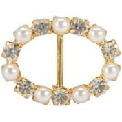 Genuine Rhinestone Buckle 35mm Oval-Gold/Pearl