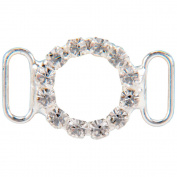 Vision Trims 93297 Genuine Rhinestone Buckle 35mm Circle-Silver