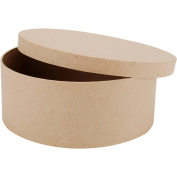 Paper Mache Round Box-19cm X19cm X7.6cm
