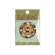 Handmade Horn Button, 5.1cm Circle Gold Carvings