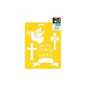 Stencil Mania Stencil 18cm x 25cm -Crosses & Dove