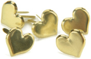 Metal Paper Fasteners 50/Pkg-Gold - Hearts
