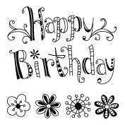Inkadinkado Clear Mini Stamps 6.4cm x 6.4cm Sheet-Happy Birthday