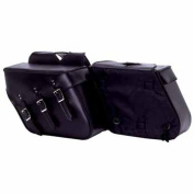 Diamond Plate 2pc Slanted Motorcycle Saddlebag Set Made Of Heavy-duty Waterproof Pvc