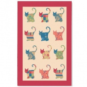 Appliqué Cat Linen Tea Towel