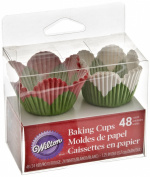 Wilton Cup Petal Mini Assorted, Pack of 48, Red/ Green