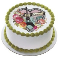 New Parisian Paris Heart Edible Cake Image Topper