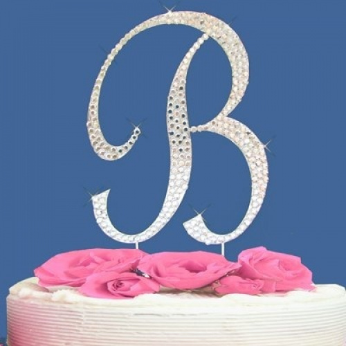 Wedding Cake Toppers Letters Uk : Fully Covered in Crystal Monogram Wedding Cake Topper ...