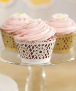 12PC 9380WS Floral Art Deco Filigree Paper Cupcake Wrappers White,Gold,Silver,Iv