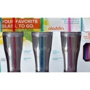 Aladdin 3 Pack of BPA Free 590ml To-Go Double Wall Plastic Tumblers with 6 Reusable Straws