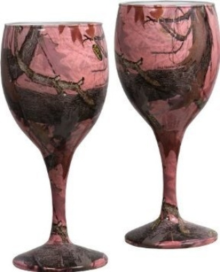 Pink Camo Wine Glasses Set/2