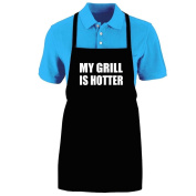 "Funny ""MY GRILL IS HOTTER"" Apron; One Size Fits Most - Medium Length Kitchen Aprons for Men, Women, Teen, & Kids (Unisex); Soft Cotton Polyester Mix with DuPont Teflon Fabric Protector. Great gift idea."