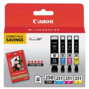 6497B004 Inks & Paper Pack,PGI-250 BK,CLI-251,4 Inks & 50 Sheets 4x6 Paper, CMYK