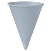 Bare Treated Paper Cone Water Cups, 6 oz, White, 200/Sleeve, 25 Sleeves/Carton