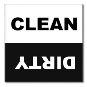 Dishwasher Magnet Clean Dirty 6.4cm x 6.4cm inches, black and white