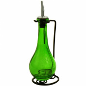 Vintage Retro Olive Oil & Vinegar Kitchen Decorative Dispenser Bottle ~ G38 Green Glass Drop Bottle Style, Olive Oil & Vinegar Liquid Dispenser Bottle with Stainless Pour Spout and Black Rod Iron Metal Stand