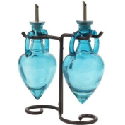 Chic Olive Oil & Vinegar Coloured Glass Bottles Liquid Dispensers 2pc G4~ Two Blue Decorative Amphora Style Bottles with Stainless Spouts & Black Metal Swirl Stand
