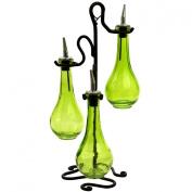Roman Olive Oil & Vinegar Kitchen Liquid Dispenser Glass Bottles 3pc ~G32 Green Coloured Glass Set of 3 Drop Bottles Style ~ Olive Oil & Vinegar Bottles with Pour Spout and Black Metal Stand ~ Decorative Liquid Dispensers ~ Pourer ~ Drizzler