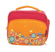 Insulated Lunch Bag - Multi-Compartment Bento Box Carrier Tote - Garden Design - Coral/Orange