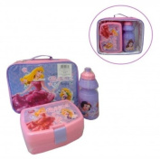 DISNEY PRINCESS INSULATED SCHOOL LUNCH BOX + SANDWICH COOL BAG DRINKS BOTTLE SET